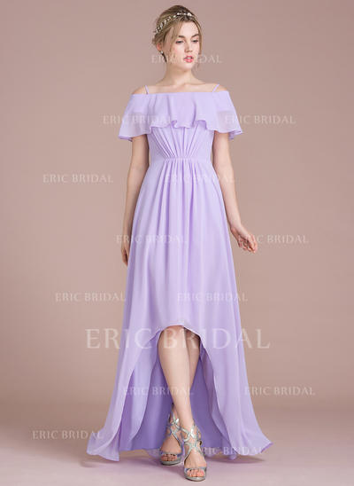 A-Line Off-the-Shoulder Asymmetrical Chiffon Bridesmaid Dress (007104702)