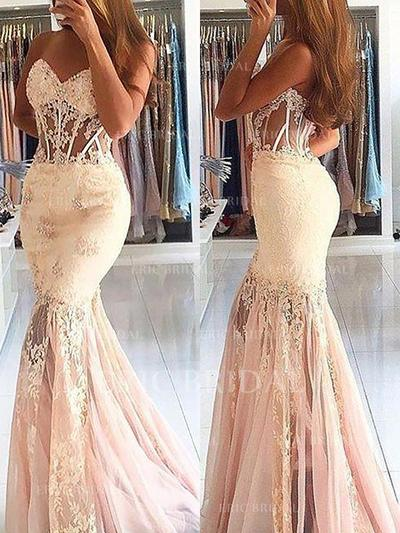 Trumpet/Mermaid Sweetheart Sweep Train Prom Dresses With Lace Beading (018148458)