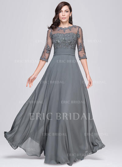 A-Line/Princess Scoop Neck Floor-Length Chiffon Evening Dress With Ruffle Beading Appliques Lace Sequins (017064186)