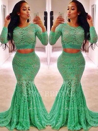 Trumpet/Mermaid Lace Prom Dresses Ruffle Beading Scoop Neck Long Sleeves Sweep Train (018148408)