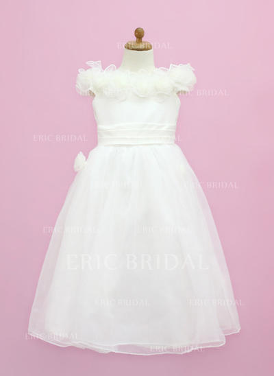 Flattering Off-the-Shoulder A-Line/Princess Flower Girl Dresses Floor-length Organza/Satin Sleeveless (010005338)