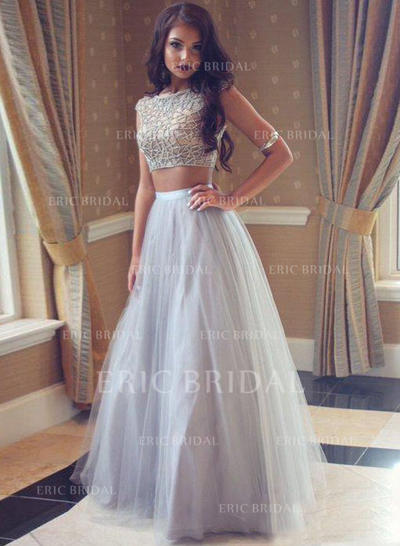 A-Line/Princess Scoop Neck Floor-Length Prom Dresses With Beading (018210232)