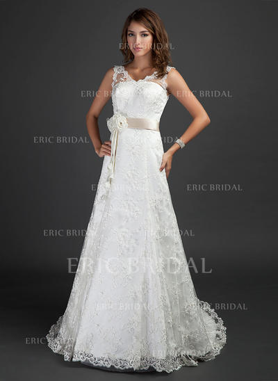 A-Line/Princess Sweetheart Court Train Wedding Dresses With Sash Beading Flower(s) (002000187)