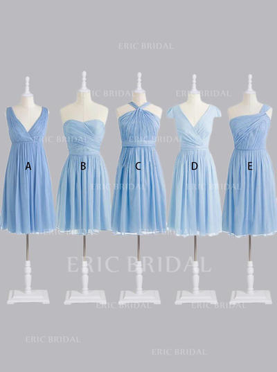 A-Line/Princess Sweetheart One-Shoulder V-neck Knee-Length Bridesmaid Dresses With Ruffle (007146663)