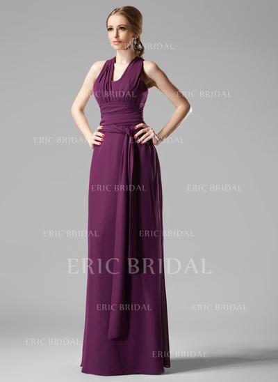 Sheath/Column Chiffon Bridesmaid Dresses Ruffle V-neck Sleeveless Floor-Length (007197400)