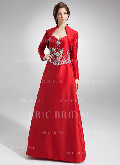 A-Line/Princess Sweetheart Floor-Length Bridesmaid Dresses With Beading (007002101)