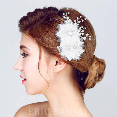 "Flowers & Feathers Wedding/Special Occasion/Outdoor/Party Alloy/Imitation Pearls/Lace 5.12""(Approx.13cm) 3.35""(Approx.8.5cm) Headpieces (042156223)"