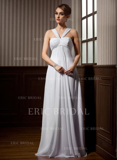 Empire Sweetheart Sweep Train Wedding Dresses With Ruffle Beading (002211257)