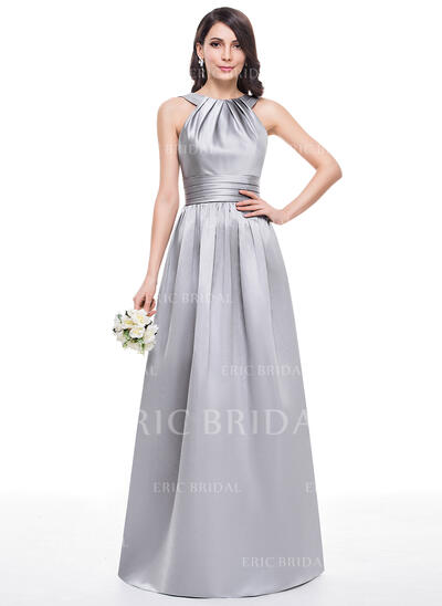 A-Line/Princess Scoop Neck Floor-Length Satin Bridesmaid Dress With Ruffle (007060609)