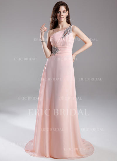 A-Line/Princess One-Shoulder Court Train Evening Dresses With Ruffle Beading (017015805)