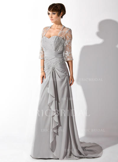 A-Line/Princess Sweetheart Court Train Mother of the Bride Dresses With Beading Cascading Ruffles (008006149)