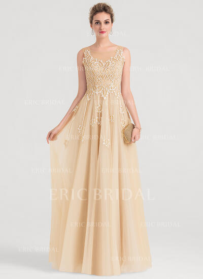 A-Line/Princess Scoop Neck Floor-Length Tulle Evening Dress With Sequins (017146866)