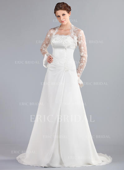A-Line/Princess Strapless Court Train Wedding Dresses With Ruffle Lace Beading (002000042)