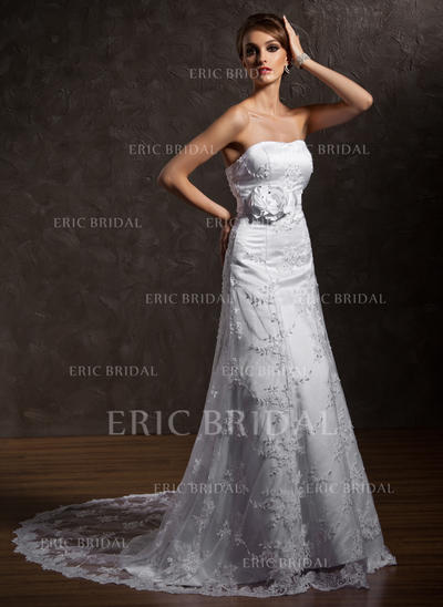 A-Line/Princess Sweetheart Court Train Wedding Dresses With Beading Flower(s) (002196858)