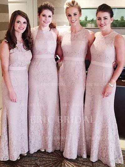 Sheath/Column Lace Bridesmaid Dresses Sash Scoop Neck Sleeveless Floor-Length (007211700)