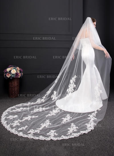 Chapel Bridal Veils Two-tier Classic With Lace Applique Edge With Lace Wedding Veils (006152538)