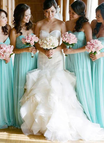 A-Line/Princess Sweetheart Floor-Length Bridesmaid Dresses With Ruffle (007145009)