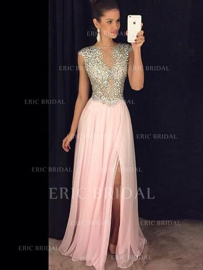 A-Line/Princess Scoop Neck Floor-Length Evening Dresses With Beading Split Front (017145448)