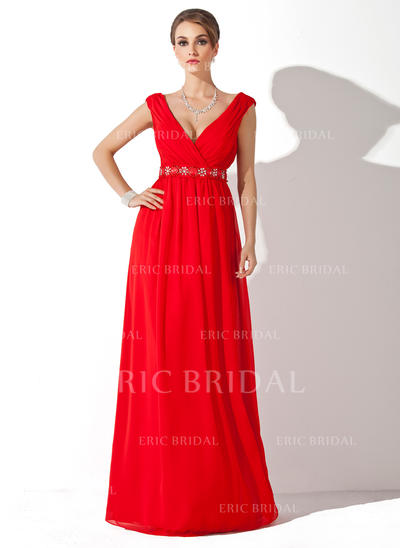 A-Line/Princess Chiffon Sleeveless V-neck Floor-Length Zipper Up Mother of the Bride Dresses (008006268)