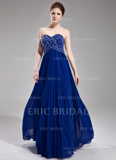 A-Line/Princess Sweetheart Floor-Length Prom Dresses With Beading Sequins Pleated (018004801)