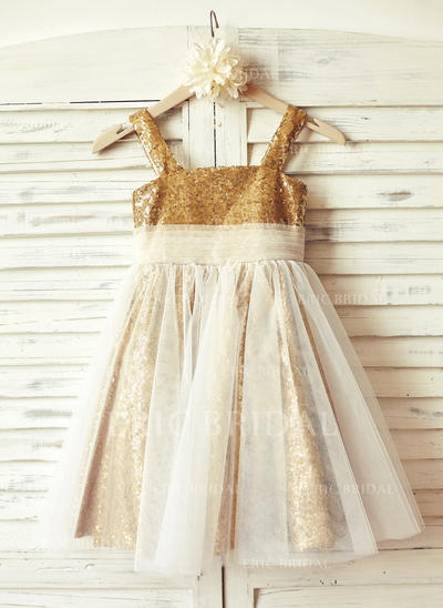 Gorgeous Straps A-Line/Princess Flower Girl Dresses Knee-length Tulle/Sequined Sleeveless (010210169)