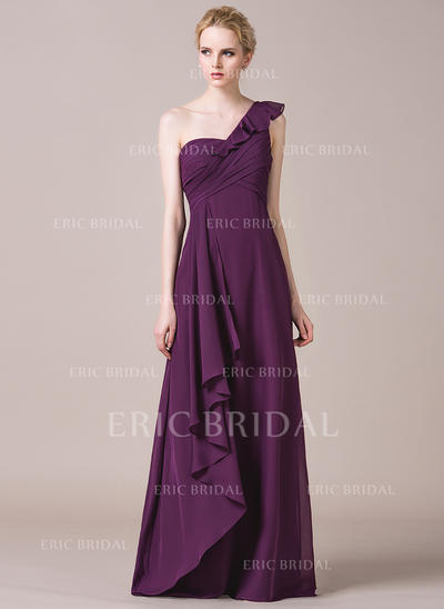 A-Line/Princess Chiffon Bridesmaid Dresses Cascading Ruffles One-Shoulder Sleeveless Floor-Length (007198828)