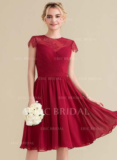 A-Line/Princess Scoop Neck Knee-Length Chiffon Lace Bridesmaid Dress With Ruffle (007144779)