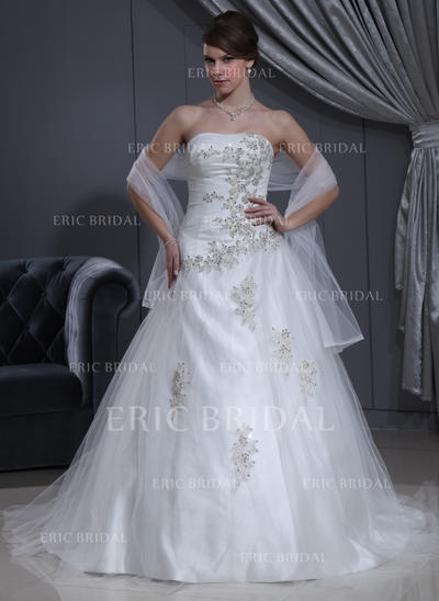 Ball-Gown Sweetheart Chapel Train Wedding Dresses With Ruffle Beading Appliques (002000280)