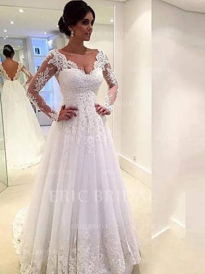 A-Line/Princess Tulle Long Sleeves V-neck Chapel Train Wedding Dresses (002147791)