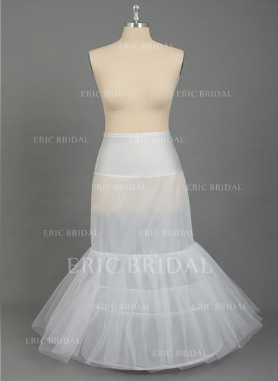 PLUS SIZE Petticoats Floor-length Nylon/Tulle Netting Mermaid and Trumpet Gown Slip 2 Tiers Petticoats (037190790)