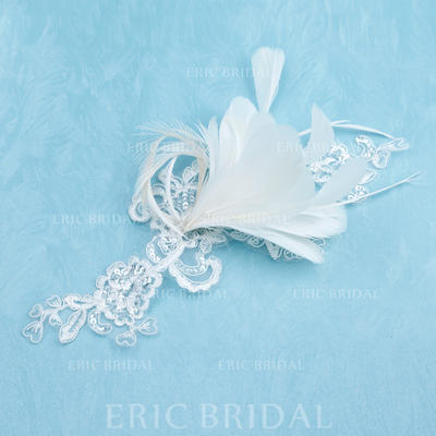 """Flowers & Feathers Wedding/Special Occasion Feather/Lace 8.66""""(Approx.22cm) 7.87""""(Approx.20cm) Headpieces (042153163)"""