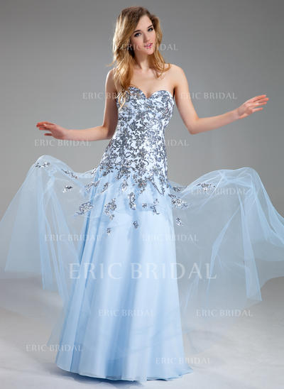 A-Line/Princess Sweetheart Floor-Length Prom Dresses With Appliques Lace Sequins (018211456)