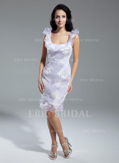 Sheath/Column Scoop Neck Knee-Length Cocktail Dresses With Appliques Lace Cascading Ruffles (016014928)