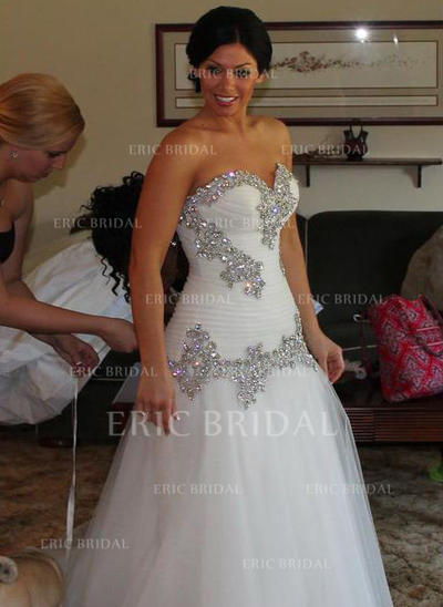 A-Line/Princess Sweetheart Floor-Length Wedding Dresses With Ruffle Beading Sequins (002147836)