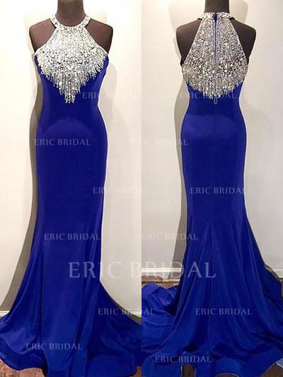 Trumpet/Mermaid Scoop Neck Sweep Train Evening Dresses With Beading (017196711)