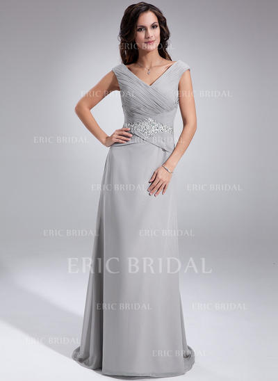 A-Line/Princess Chiffon Sleeveless Off-the-Shoulder Sweep Train Zipper Up Mother of the Bride Dresses (008005681)