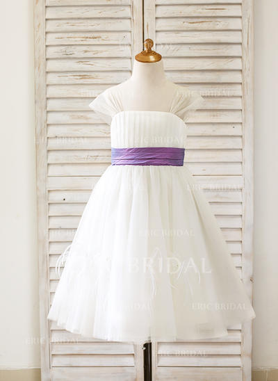 A-Line/Princess Straps Tea-length With Sash Tulle Flower Girl Dresses (010210133)