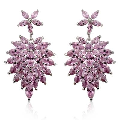 """Earrings Zircon/Platinum Plated Pierced Vintage 1.81""""(Approx.4.6cm) Wedding & Party Jewelry (011164803)"""