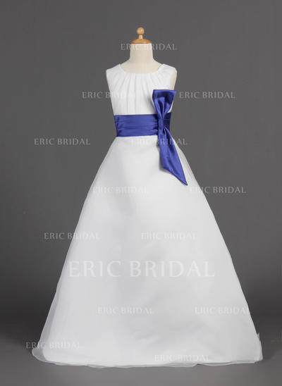 Chic Scoop Neck A-Line/Princess Flower Girl Dresses Floor-length Organza/Satin Sleeveless (010005810)