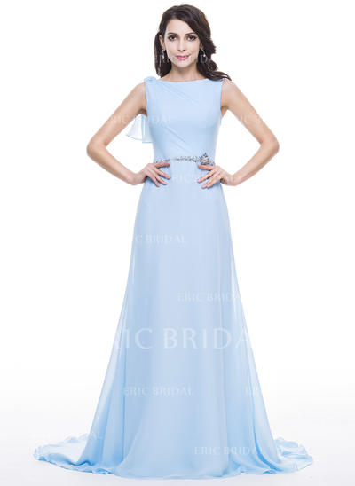 A-Line/Princess Scoop Neck Court Train Evening Dresses With Lace Beading Sequins Cascading Ruffles (017056631)