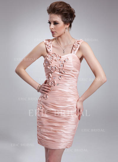 Sheath/Column Sweetheart Short/Mini Cocktail Dresses With Ruffle Beading Flower(s) (016021213)