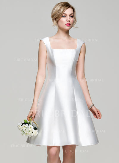 A-Line Square Neckline Knee-Length Satin Bridesmaid Dress (007072820)