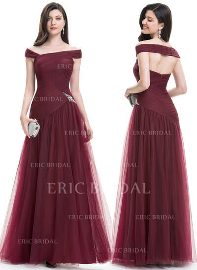 A-Line/Princess Off-the-Shoulder Floor-Length Tulle Evening Dress With Ruffle Beading Sequins (017105887)