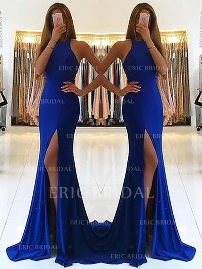 Sheath/Column Halter Sweep Train Prom Dresses With Ruffle (018211000)