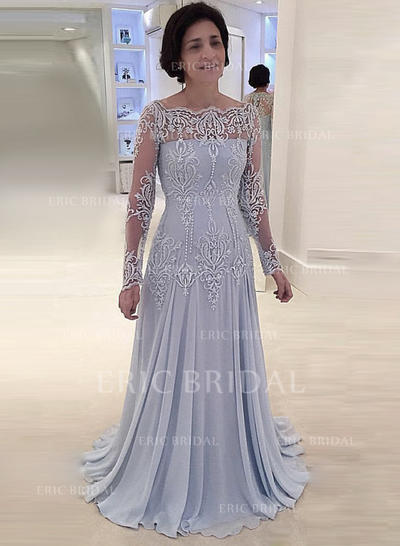 A-Line/Princess Chiffon Lace Long Sleeves Square Neckline Sweep Train Zipper Up Mother of the Bride Dresses (008146300)