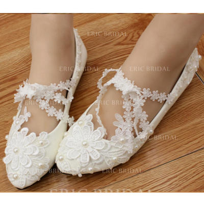 Women's Closed Toe Flats Flat Heel Leatherette With Imitation Pearl Flower Wedding Shoes (047206915)