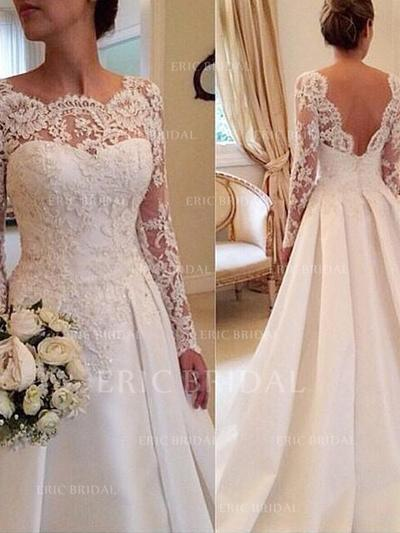 Ball-Gown Satin Lace Long Sleeves Scoop Court Train Wedding Dresses (002144849)