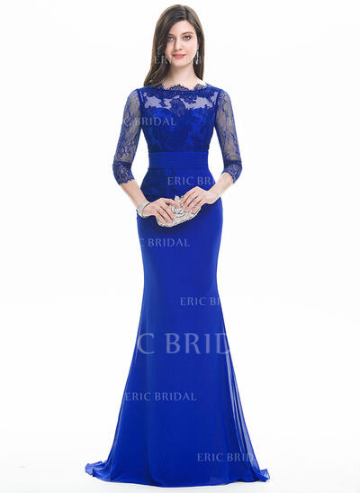 Trumpet/Mermaid Scoop Neck Sweep Train Chiffon Evening Dress With Ruffle (017105907)