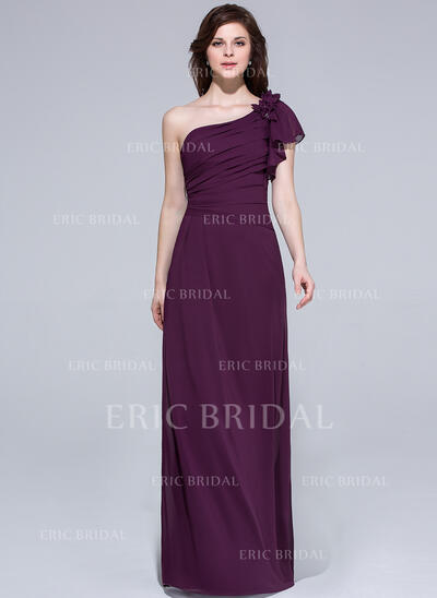 A-Line/Princess One-Shoulder Floor-Length Chiffon Bridesmaid Dress With Beading Flower(s) Cascading Ruffles (007037164)