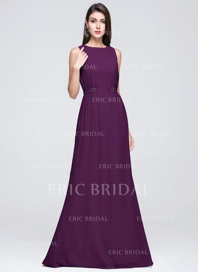 A-Line/Princess Scoop Neck Floor-Length Chiffon Bridesmaid Dress With Ruffle Beading (007072250)